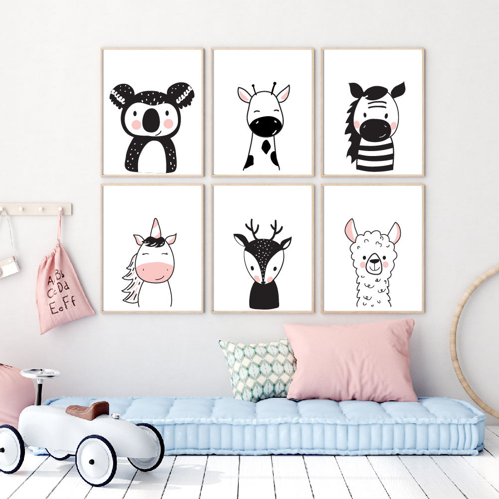 Nursery prints and kids wall art collection of 6 scandi style woodland animals consisting of a koala, giraffe, zebra, unicorn, deer and lama