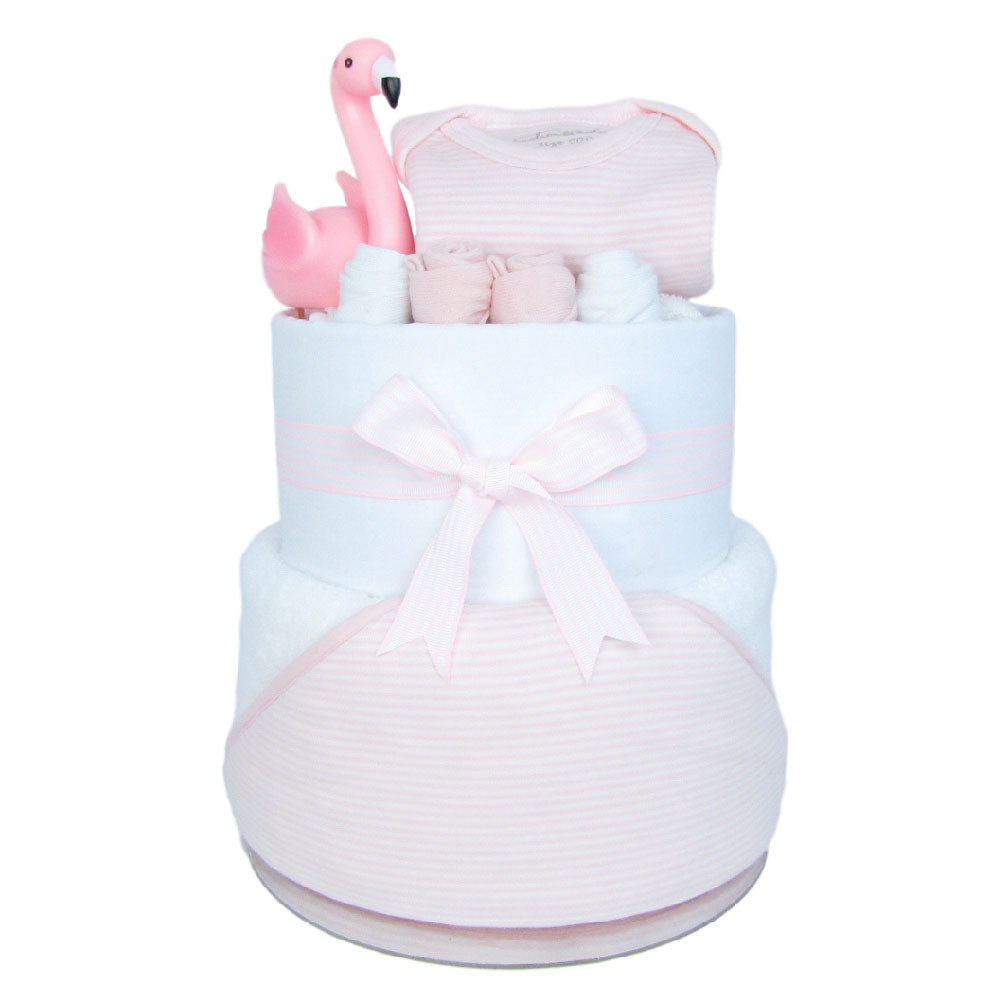 Nappy Cakes made with 1 hooded towel, 1 muslin wrap, 2 pairs of socks, 1 baby bodysuit, 1 floating flamingo toy and 24 huggies nappies. Arrange to look like a 2 tier cake.