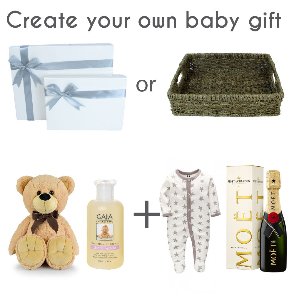 Bespoke Baby Gifts. Create your own customised baby hamper, baby gift box or baby shower present.