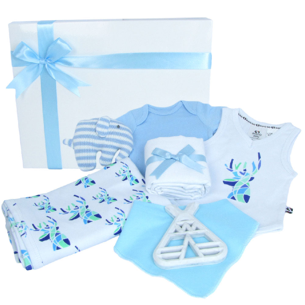Baby present for a newborn boy. A gift box with 2 baby bodysuits, a baby wrap, a bandana bib, teething toy, crochet stripe elephant toy and baby gift box.