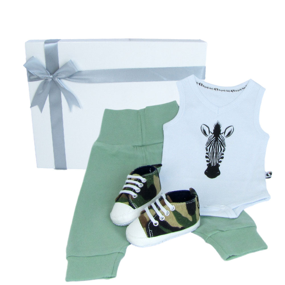Newborn baby present of zebra head printed on a baby bodysuit with green pants and camouflage baby shoes with a gift box.