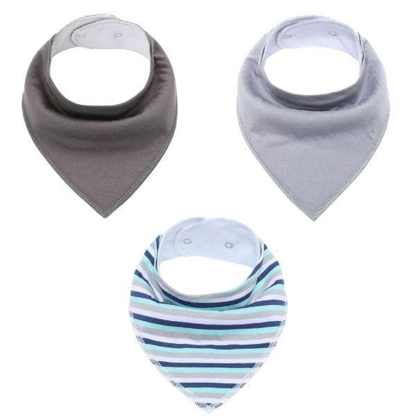 Bibs 3pk - Double Grey and Stripes
