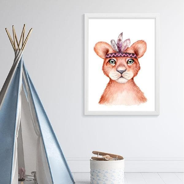 Boho Lion Nursery print or kids wall art. A drawing of a lion's head with a boho style head piece. Bespoke Baby Gifts. Baby Shower Gift Ideas. Baby Gifts Australia. Nursery Wall Art Australia.