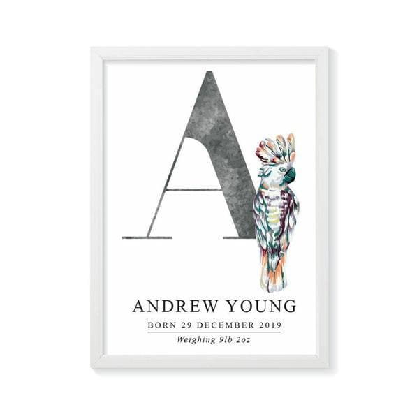 Cockatoo Personalised Birth Print