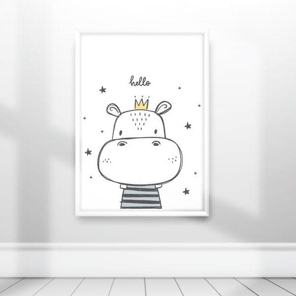 Cute Hippo Hello Nursery Wall Art. Birth Prints. Kids Wall Art. Bespoke Baby Gifts. Baby Gifts Australia. Online Gifts. Unique gifts australia. Kids prints. Newborn baby gifts. Kids wall art.