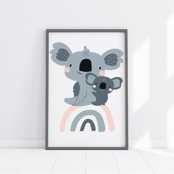 Cute Koala Bears Nursery Wall Art. Nursery Prints. Kids Wall Art. Framed Wall Art. Bespoke Baby Gifts. Australian Animal Art. Rainbow prints. Nursery Prints. Kids Wall Art. Unique gifts australia.
