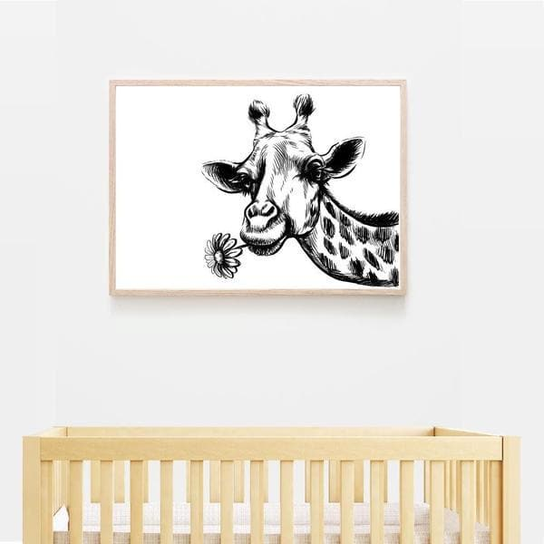 Giraffe and Flower print. Black frame. Bespoke Baby Gifts. Nursery Prints. Nursery Wall Art. Animal Wall Art. Monochrome art. Baby Shower gift ideas. Baby room decor.