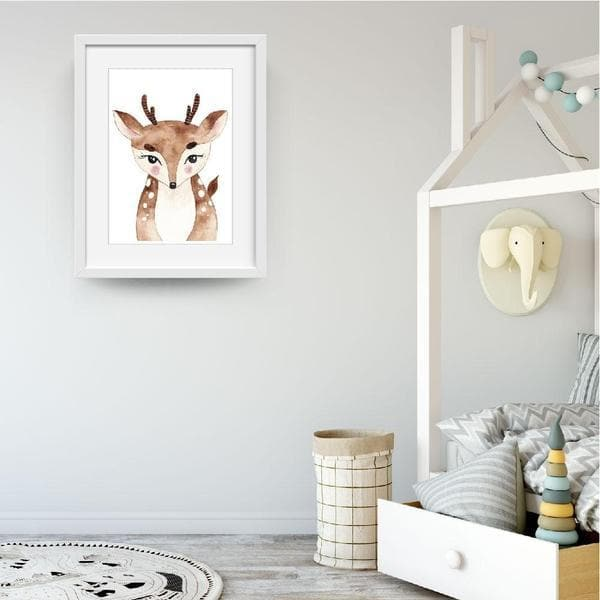 Dana Dear Woodland Nursery Wall Art. Bespoke Baby Gifts. Kids wall art. Baby shower gift ideas. Animals prints. Online gifts. baby gifts australia.