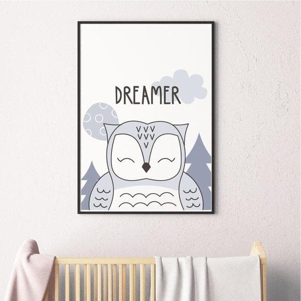 Dreamer Owl Nursery Prints and Kids Wall Art. Birth Prints and Personalised Wall Art. online baby gifts. unique gifts australia. Baby shower gift ideas. monochrome kids art. Bespoke baby gifts.