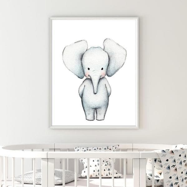 Elle Elephant wooden frame. Bespoke baby gifts. nursery wall art. Baby shower gifts. animal prints. unisex wall art. baby gifts australia.