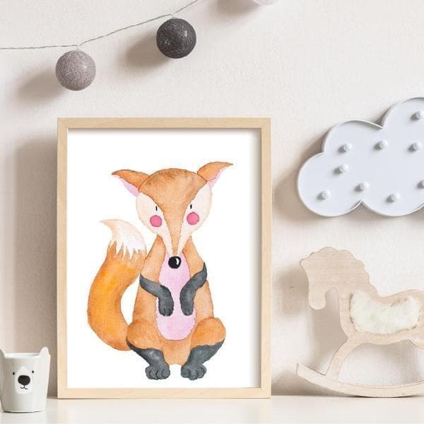 Felix fox plain white frame. fox drawing art. nursery wall art. kids wall art. animal prints. baby gifts australia. baby shower gifts. bedroom prints.