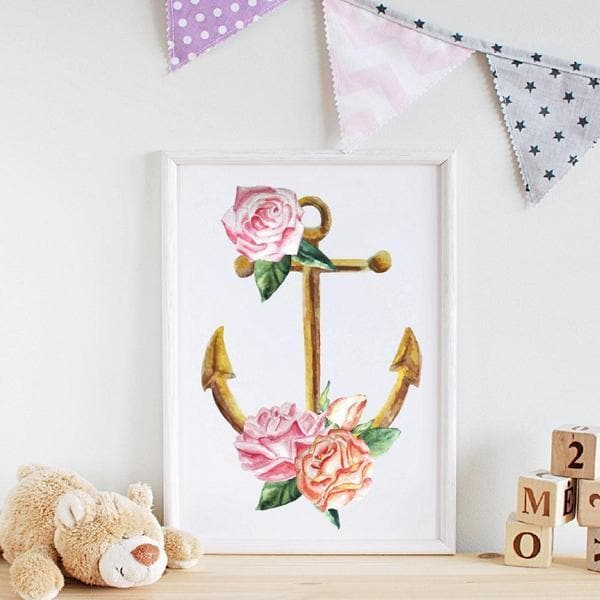 Floral Anchor wooden frame. Bespoke baby gifts. Pink flower art. Girls wall art. baby shower gifts. unique gifts australia. baby room decor. best baby gifts.