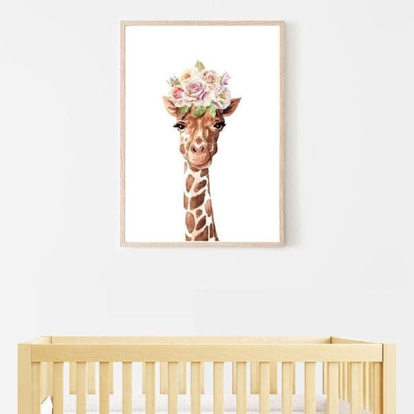 Gigi giraffe timber frame. Bespoke baby gifts. Flower crown art. Nursery wall art. Kids wall art. Unique baby gifts australia. online gifts. baby room decor.
