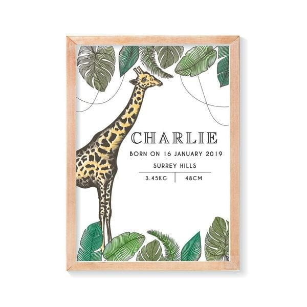 Giraffe Personalised Birth Print. Nursery Prints. Kids Wall Art, Nursery Wall Art. Framed Wall Art. Bespoke Baby Gifts