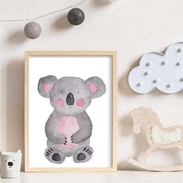 Kim Koala Wall Art. A whimsical watercolour drawing of a koala with pink rosie cheeks. bespoke baby gifts. unique gifts australia. baby shower presents. baby girl gifts. online gifts. Timber frame.