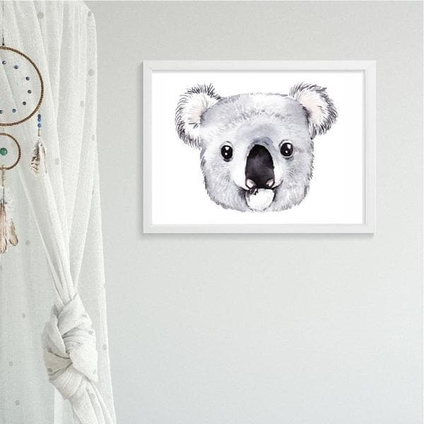 Koala Drawing. Nursery Prints and Kids Wall Art. Bespoke Baby Gifts. White frame. animal prints. unisex baby gifts. kids wall art.