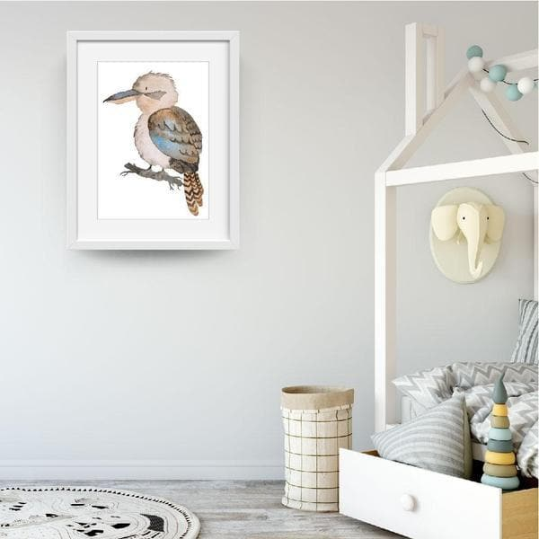 kobe kookaburra woodland friends white frame. bespoke baby gifts. nursery prints. nursery wall art. kids wall art. baby room decor. baby gifts australia.