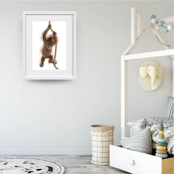Little Cheeky Monkey - Baby Shower Gifts | Personalised Baby Gifts | Nappy Cakes. Bespoke baby gifts. Nursery wall art. Baby animal art. online gifts australia. white frame.