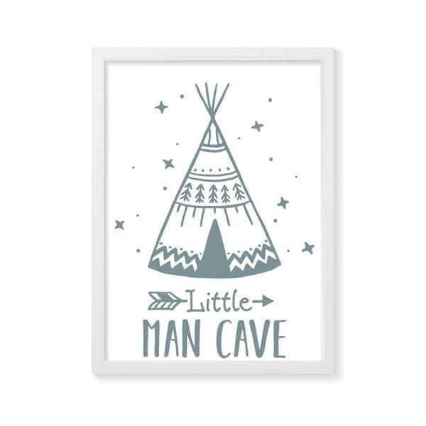 Little man cave green teepee. bespoke baby gifts. boys wall art. nursery wall art. baby shower presents. newborn gifts. kids gifts. timber frame.