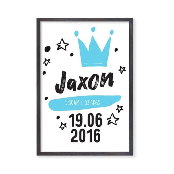 Little Prince Personalised Birth. Nursery Prints.Kids Wall Art. Nursery Wall Art. Framed Wall Art
