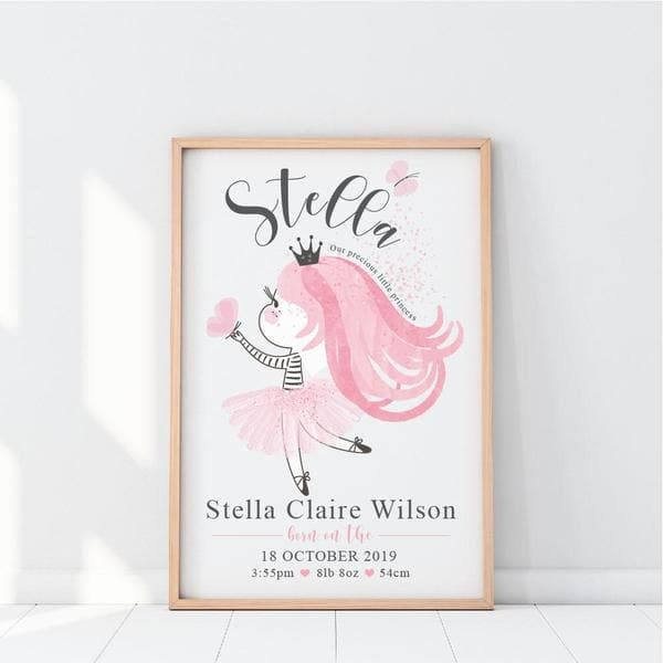 Little Princess Personalised Birth Print