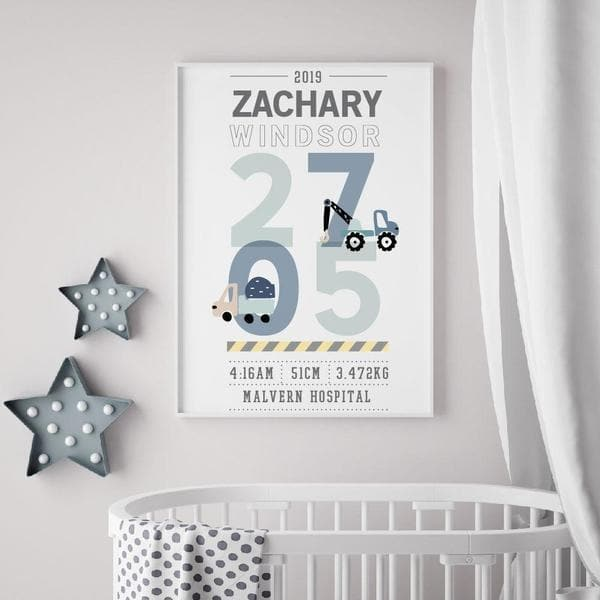 Little Trucks Personalised Birth Print