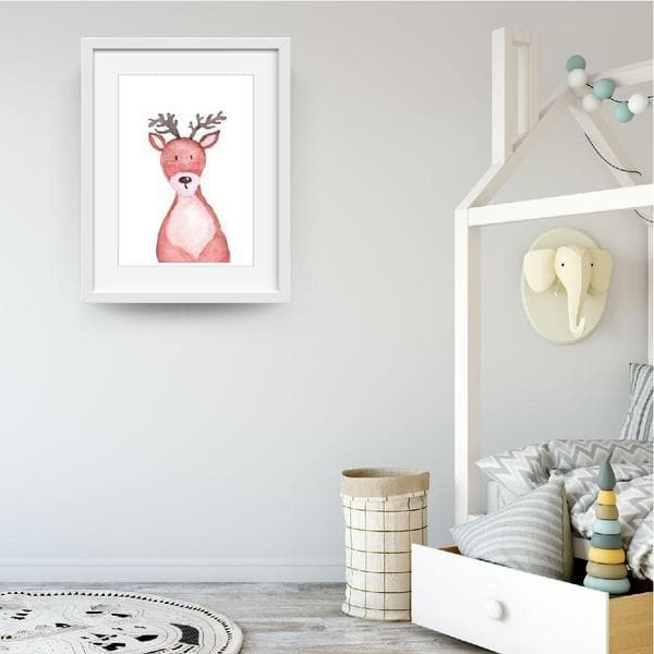 Mikey moose rosy cheeks. white frame. bespoke baby gifts. animal prints. animal wall art. nursery wall art. kids wall art. baby shower presents. unique gift ideas. baby gifts australia.