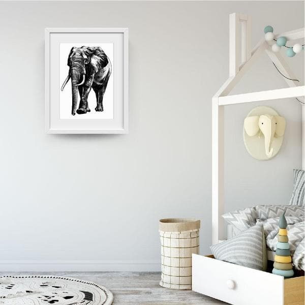 Monochrome Elephant - Baby Shower Gifts | Personalised Baby Gifts | Nappy Cakes. Bespoke baby gifts. animal prints. animal wall art. nursery prints. unique gifts australia.