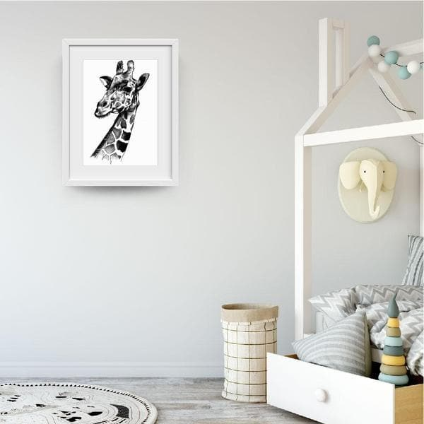 Monochrome Giraffe - Baby Shower Gifts | Personalised Baby Gifts | Nappy Cakes. Bespoke baby gifts. white frame. animal prints. animal art work. unique gifts australia.