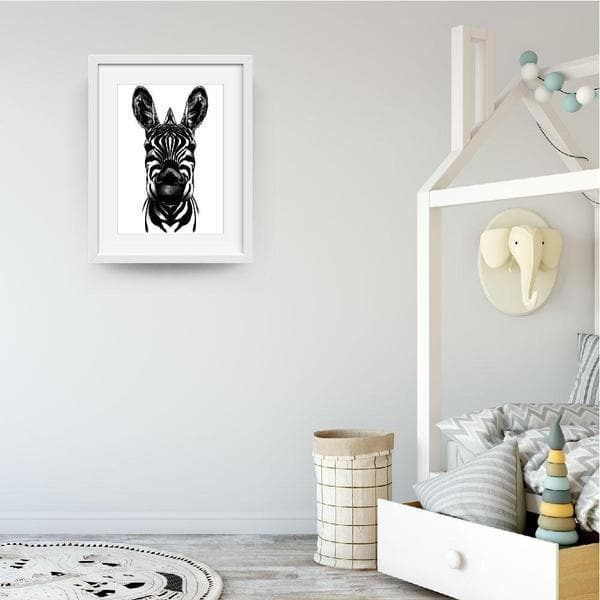Monochrome Zebra - Baby Shower Gifts | Personalised Baby Gifts | Nappy Cakes. bespoke baby gifts. Animal prints. Animal wall art. unique wall art. unique gifts australia. unisex baby wall art. White frame.