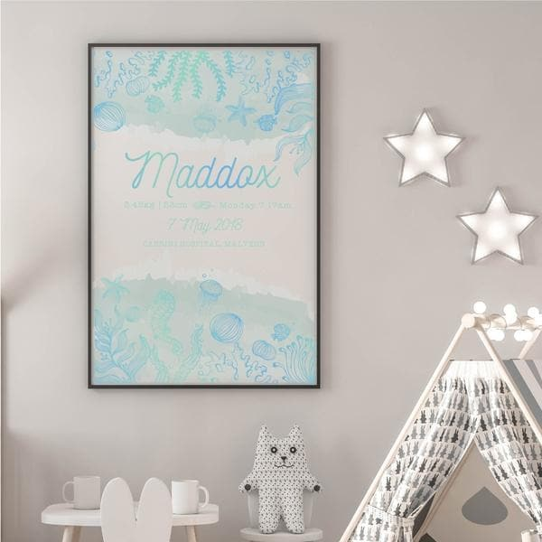 Ocean Personalised Birth Print