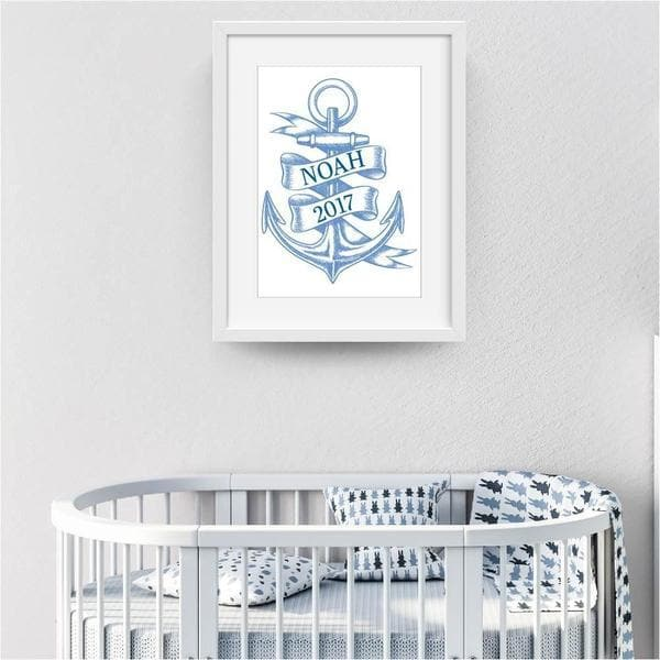Blue Anchor Wall Art - Baby Shower Gifts | Personalised Baby Gifts | Nappy Cakes