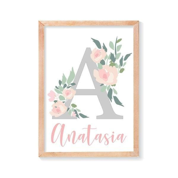 Personalised floral letter and name nursery wall art. Birth prints. Nursery Prints. Kids Wall Art. Kids room decor