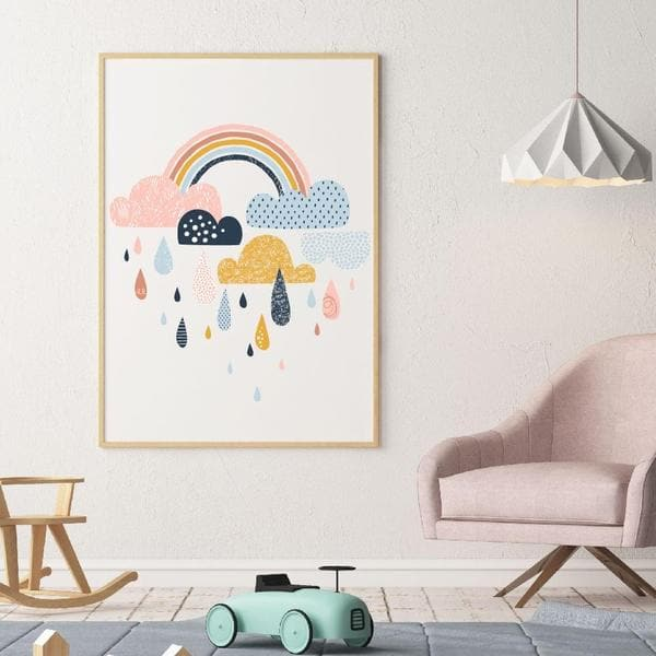 Ranbow and clouds pink nursery wall art. bespoke baby gifts. print only. raindrops. kids wall art. baby gifts australia. baby shower gift ideas. gifts for girls.