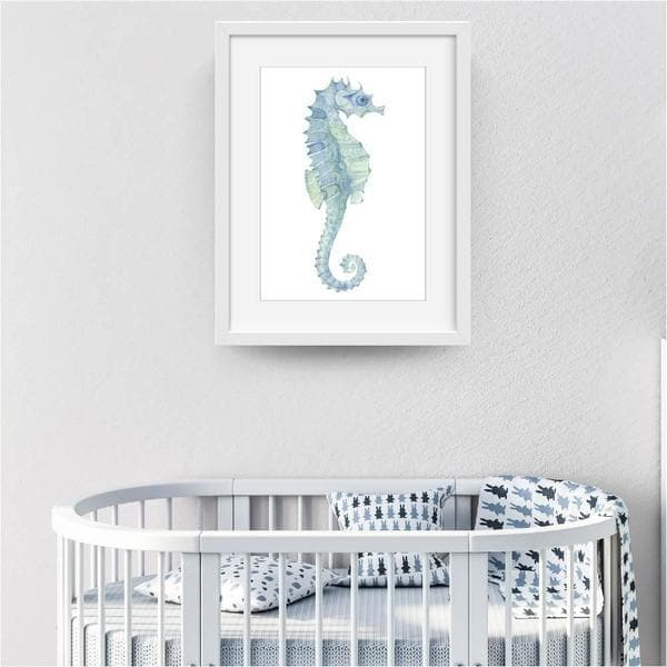 seahorse soft blue. white frame. bespoke baby gifts. gifts for boys. ocean art. kids wall art. unique gifts australia. blue watercolour.
