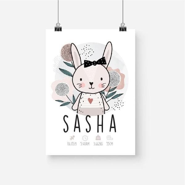 Scandi Bunny Girl Personalised Birth Print