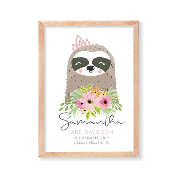 Sloth Girl Personalised Birth Print