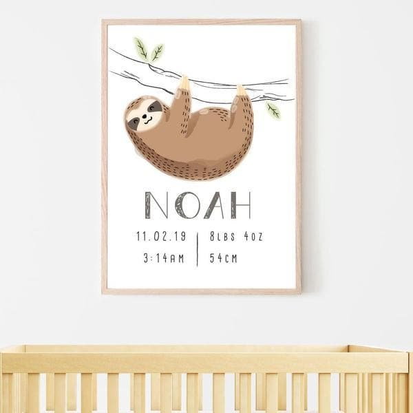 Sloth Hanging Personalised Birth Print. Nursery Wall Art. Nursery Prints. Kids Wall Art. Framed Wall Art.