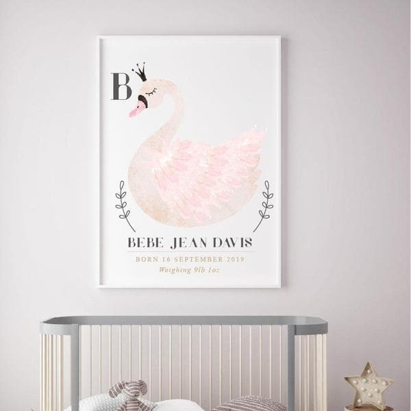 Swan Personalised Birth Print