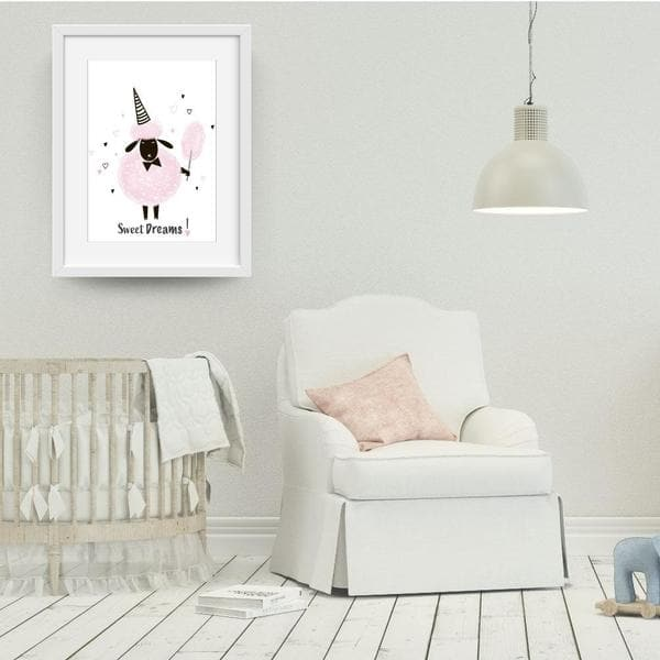 Sweet dreams white frame. bespoke baby gifts. pink sheep. cute girls art. gifts for baby girls. unique gifts australia. nursery wall art. baby shower gifts.