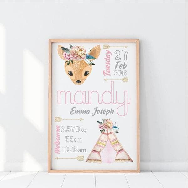 Tribal Teepee Personalised Birth Print