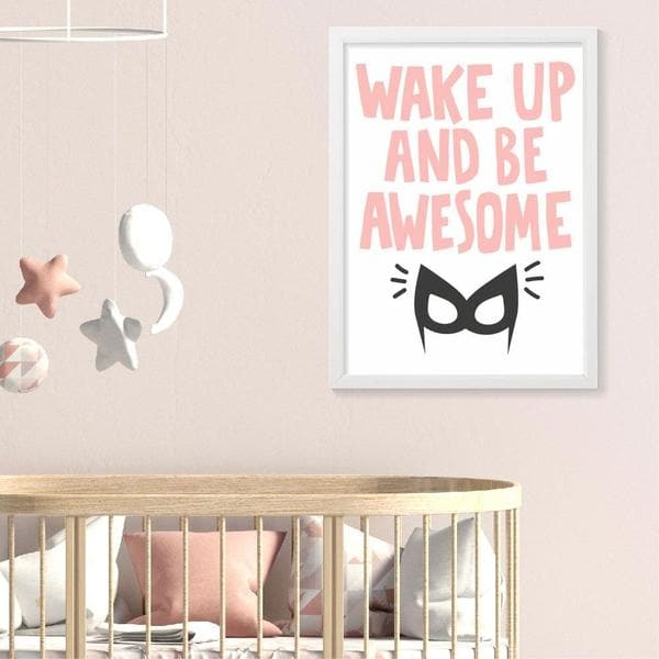 Wake up and be awesome gift. timber frame. pink writing. superhero. wonderwoman. gifts for girls. newborn gifts. baby shower gift ideas. online gift australia.