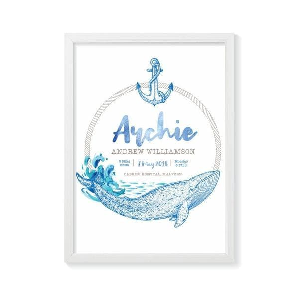 Whale Personalised Birth Print