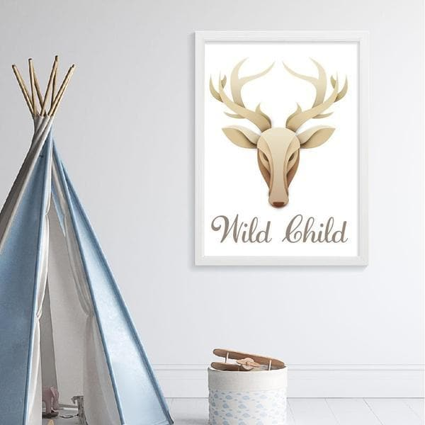 wile child deer head wooden frame. bespoke baby gifts. neutral colours. unisex wall art. baby shower gift ideas. online artwork. online baby gifts. timber frame.