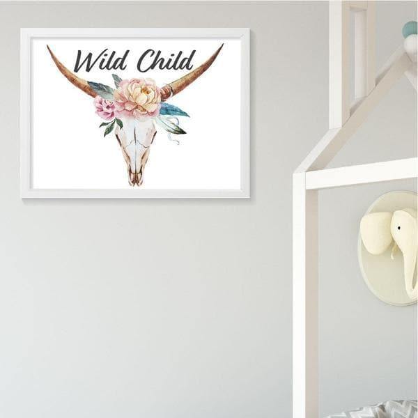 Wild child floral skull nursery prints and kids wall art. Nursery decor and framed wall art. bespoke baby gifts. gifts for baby girls. nursery wall art. baby shower gift ideas. timber frame. flower crown.