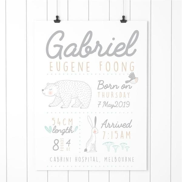 Bespoke Baby Gifts. Woodland Personalised Birth Print. Nursery Prints and Kids Wall Art