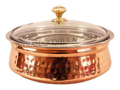 Steel Copper Serving Handi With Glass Lid