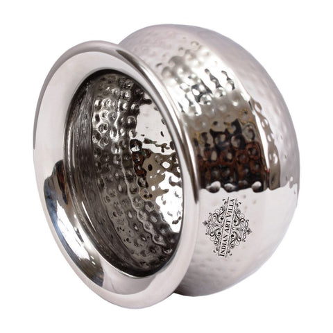 Hammered Stainless Steel Punjabi Handi Bowl, Serveware & Tableware, 400 ML