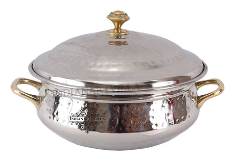 Steel Handi Brass Handle with Steel Lid|750 ML Capacity|Serving Dishes|Home Hotel