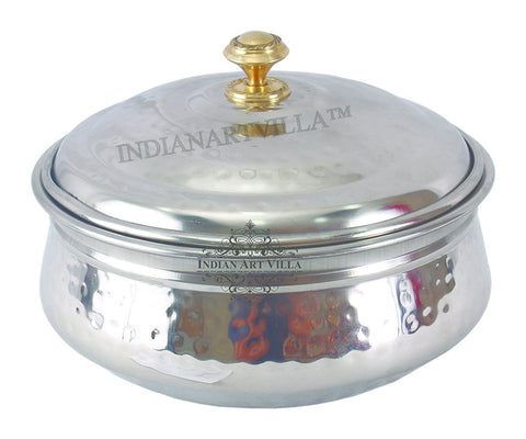 Steel Handi Bowl with Lid, Serving Briyani Indian Dishes Home Hotel, 1000 ML, Silver